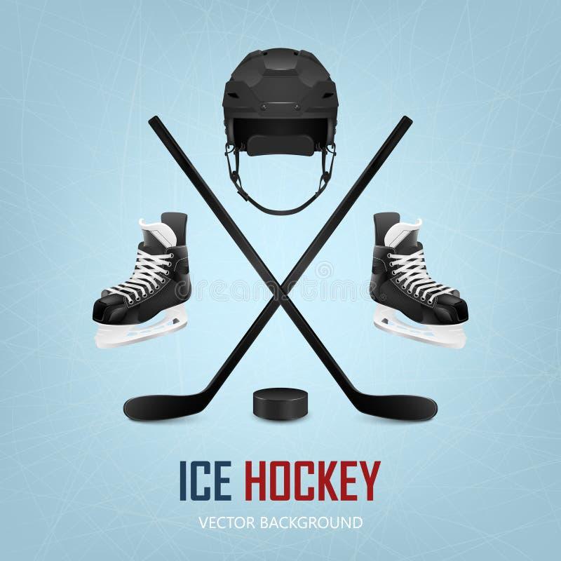 Casco, duende malicioso, palillos y patines del hockey sobre hielo ilustración del vector