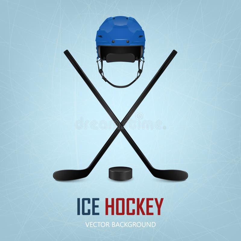 Casco, duende malicioso y palillos del hockey sobre hielo Vector libre illustration