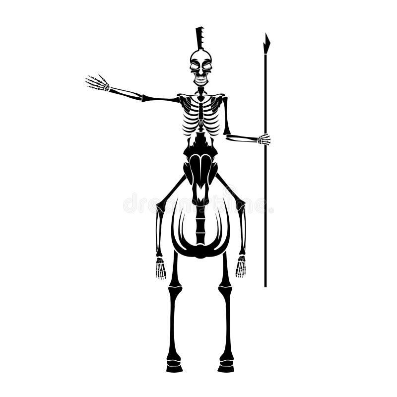 Casco Espartano Con La Lanza En El Caballo Ilustración del Vector ...