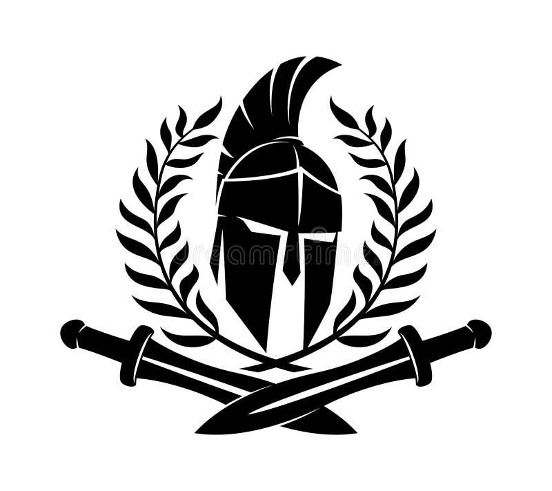 Casco espartano con las espadas libre illustration
