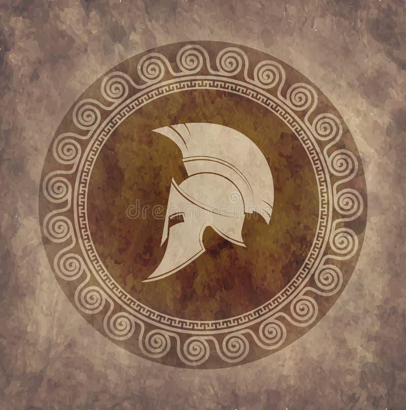 Casco espartano un icono en el papel viejo en grunge del estilo stock de ilustración