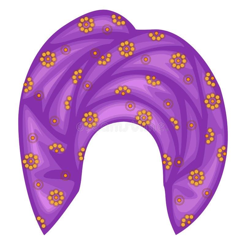 Casco femenino para la mujer, turbante Una bufanda violeta hecha punto brillante Ropa hermosa y elegante nacional Ilustraci?n del stock de ilustración