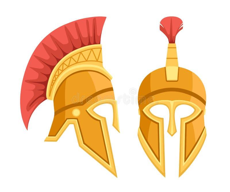 Casco griego de bronce Armadura antigua espartano Casco rojo del pelo Ejemplo plano aislado en el fondo blanco ilustración del vector