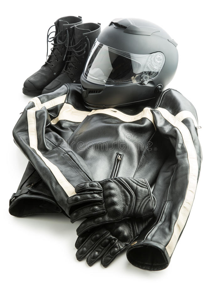 Casco, guantes, chaqueta y botas de la motocicleta fotografía de archivo libre de regalías