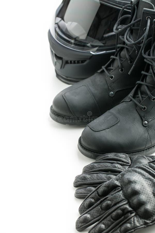 Casco, guantes y botas de la motocicleta fotografía de archivo libre de regalías