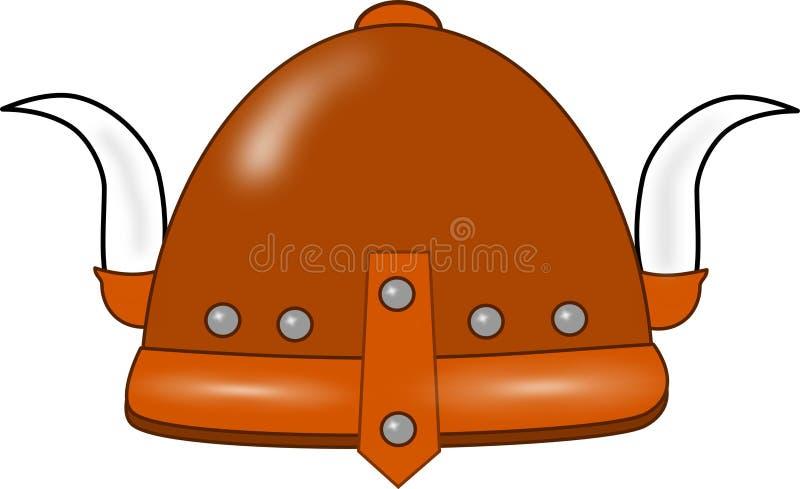 Casco isolato del Vichingo con i corni illustrazione di stock