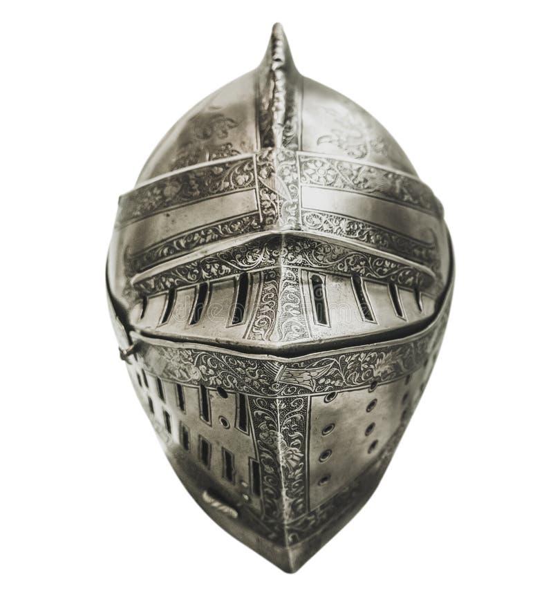 Casco medieval aislado de la armadura de los caballeros imagen de archivo libre de regalías