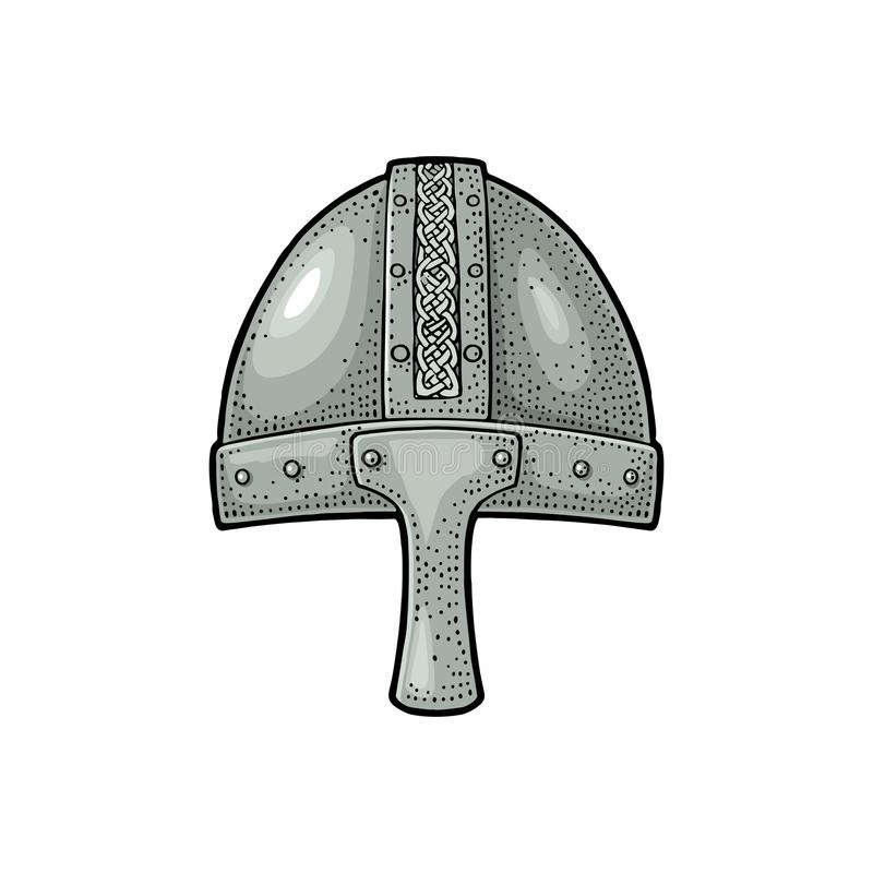 Casco medieval de Viking Ejemplo de color del vintage del grabado stock de ilustración