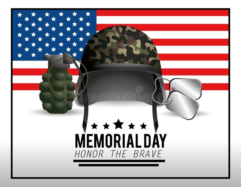 Casco militar con el collar y la granada al Memorial Day ilustración del vector