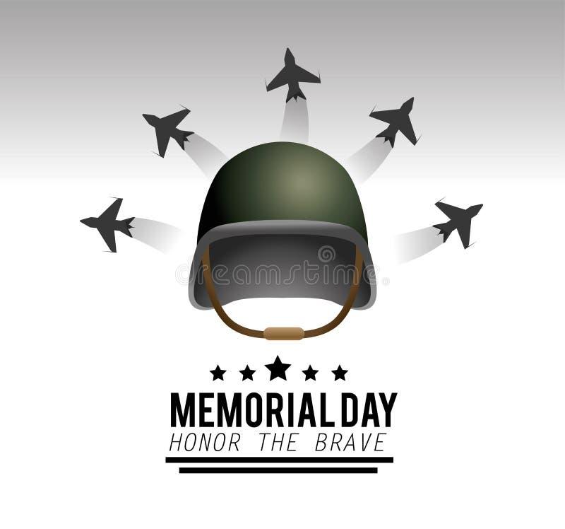 Casco militar con los aeroplanos al Memorial Day libre illustration