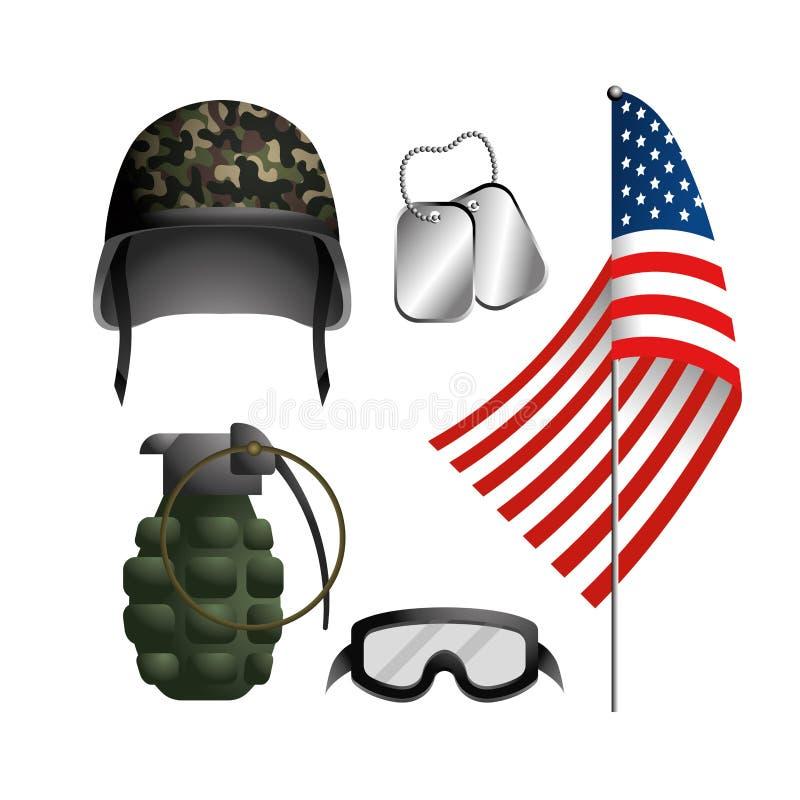 Casco militar determinado con la granada y el neclace stock de ilustración