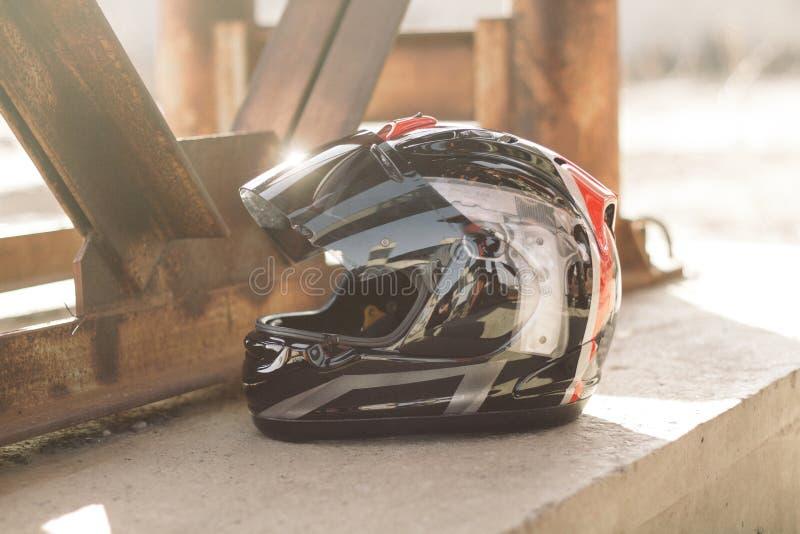Casco moderno del motociclo fotografie stock