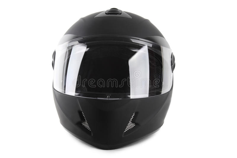 Casco negro de la motocicleta aislado imagen de archivo