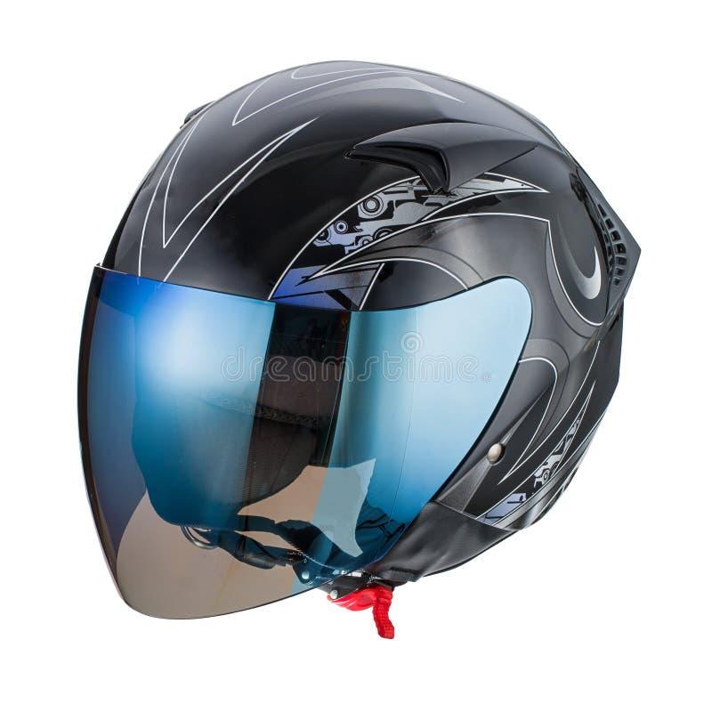Casco negro del modelo aislado en el fondo blanco, motocicleta del casco, compitiendo con el casco imagen de archivo