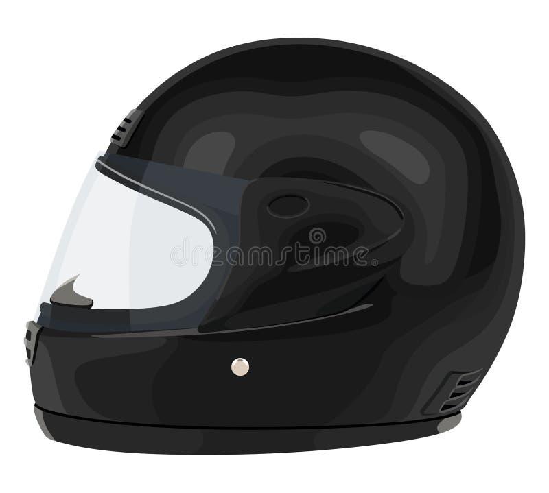 Casco nero del motociclo illustrazione vettoriale