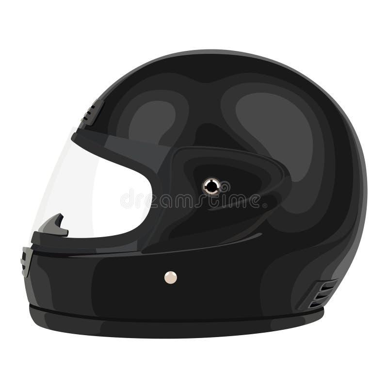 Casco nero del motociclo royalty illustrazione gratis