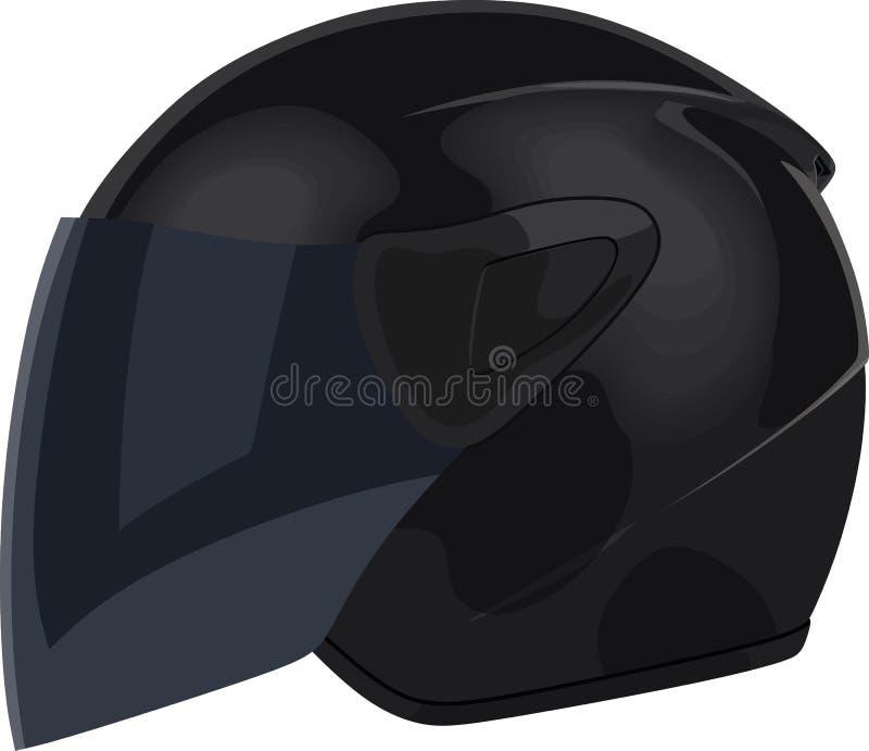 Casco nero del motociclo illustrazione di stock