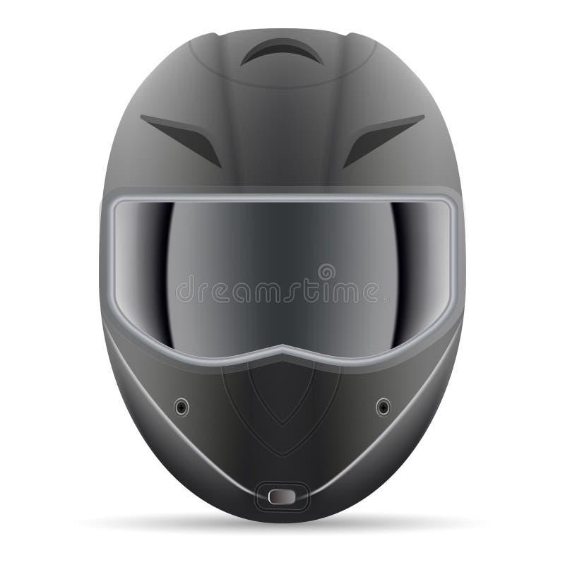Casco nero del motociclo Vista frontale isolata su un fondo bianco Illustrazione di vettore illustrazione di stock
