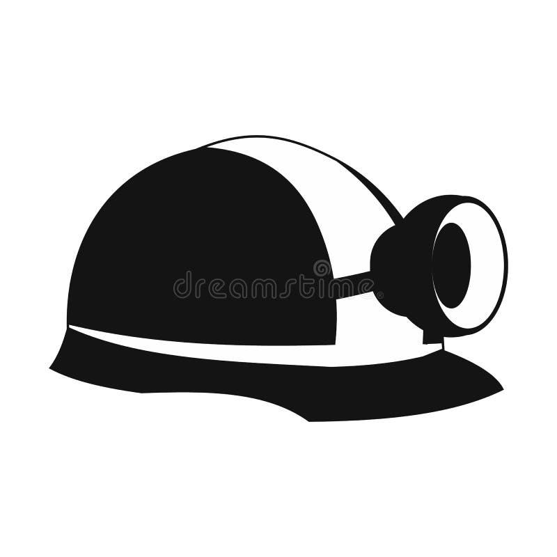 Casco per minatore con l'icona della lampada illustrazione di stock
