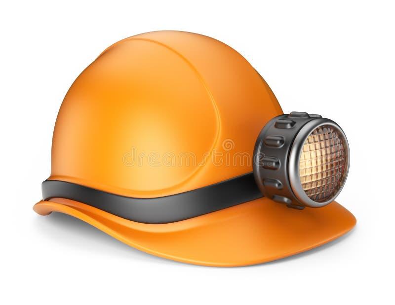 Casco per minatore con la lampada. icona 3D   royalty illustrazione gratis