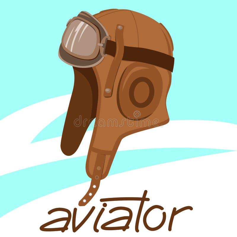 casco retro del aviador, ejemplo del vector, estilo plano, libre illustration
