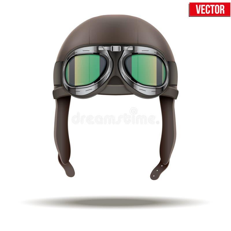 Casco retro del piloto del aviador con las gafas libre illustration