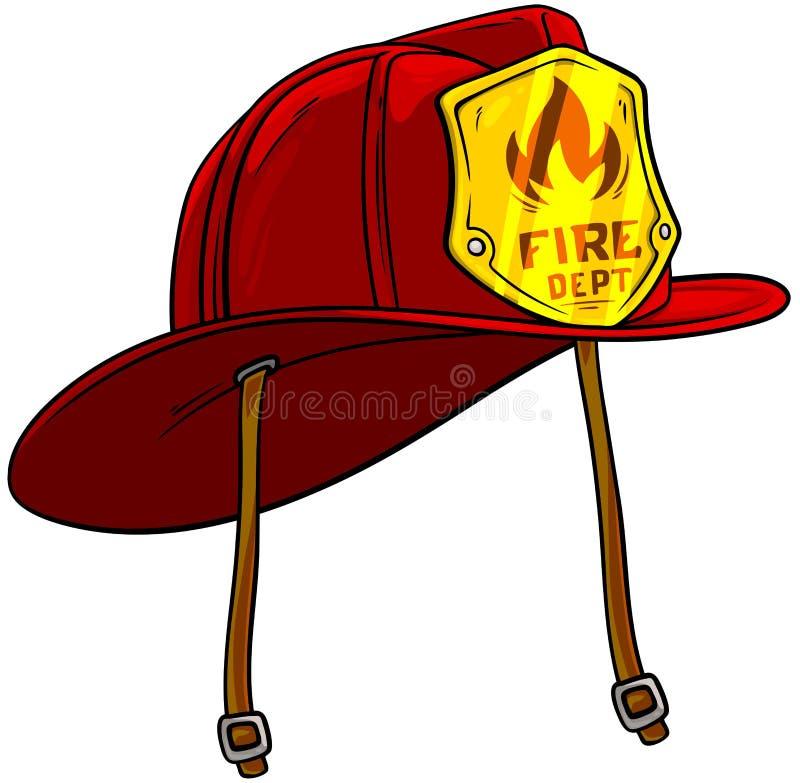 Casco rojo del bombero de la historieta con la insignia de oro ilustración del vector