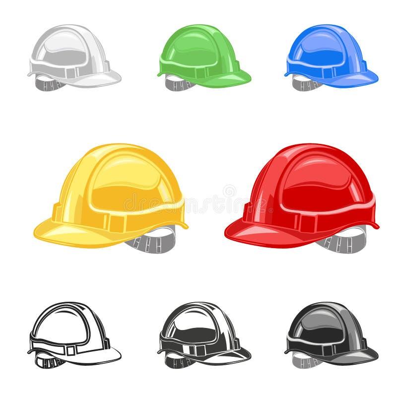 Casco, sistema del casco de seguridad, edificio, bajo vector del conctruction stock de ilustración