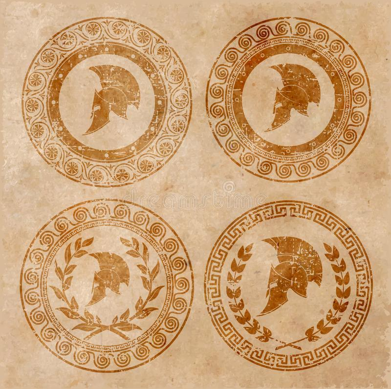 Casco spartano un'icona su vecchia carta in lerciume di stile royalty illustrazione gratis