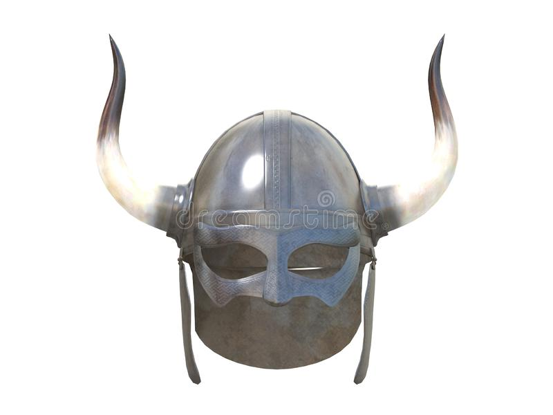 Casco viejo de vikingo del metal delantero o vista lateral aislada en una representación blanca del fondo 3d stock de ilustración