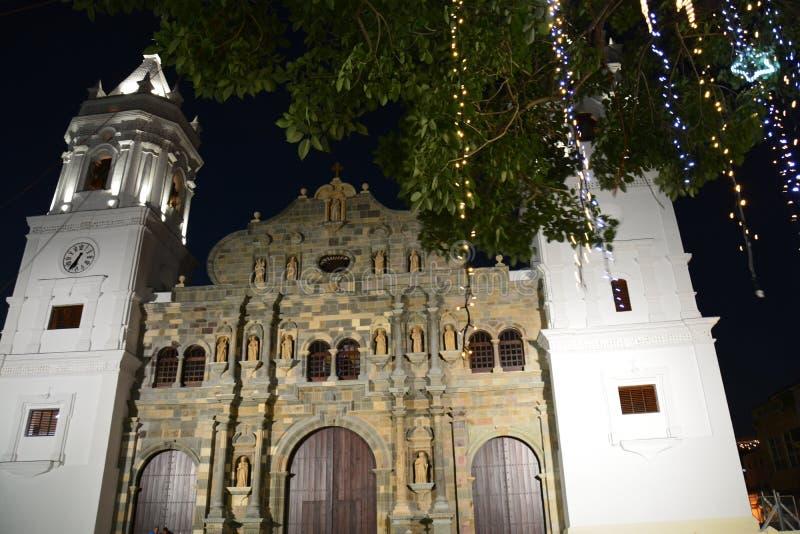 Casco Viejo del Panama Città Vecchia nel ¡ di Panamà alla notte immagini stock