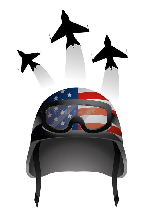Casco y aeroplano militares stock de ilustración