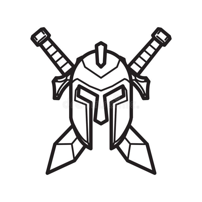 Casco y espada de un caballero medieval ilustración del vector