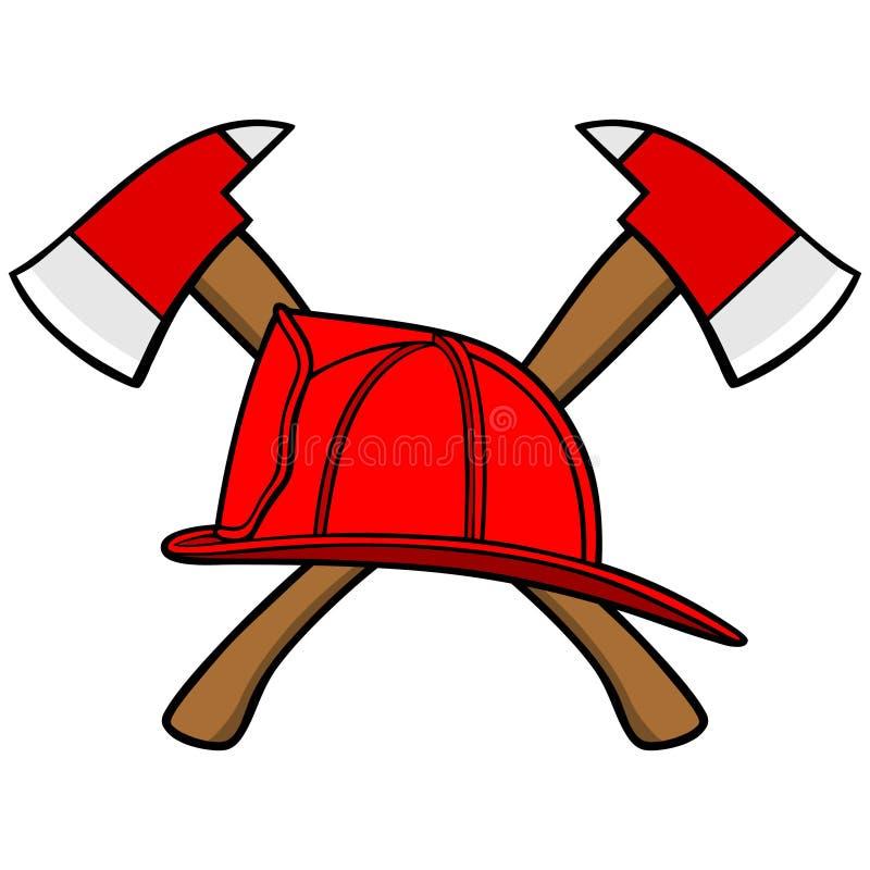 Casco y hachas del bombero libre illustration