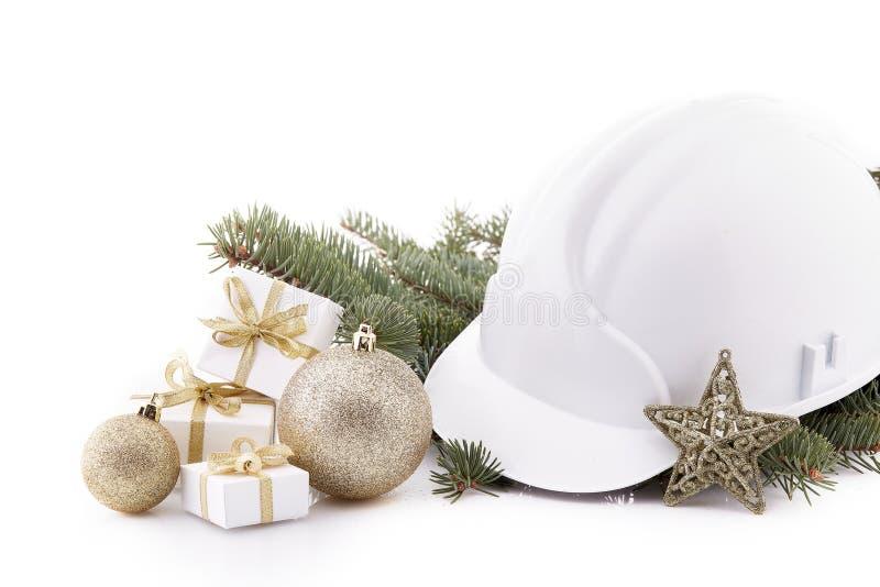 Casco y la Navidad de la construcción fotos de archivo libres de regalías