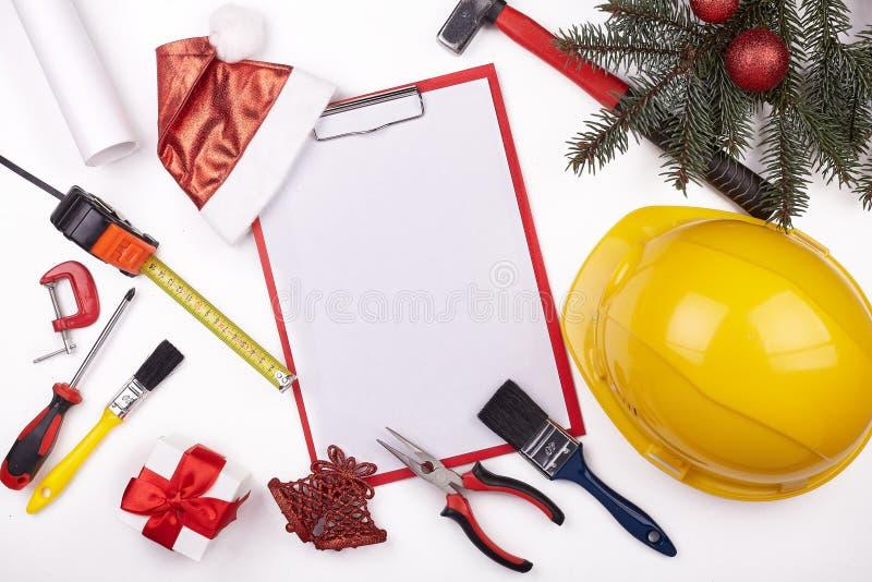 Casco y la Navidad de la construcción foto de archivo libre de regalías