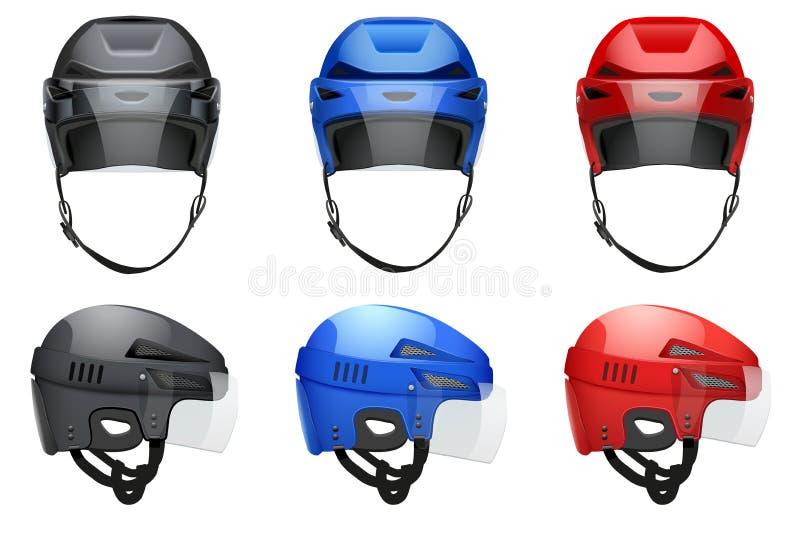 Cascos clásicos del hockey ilustración del vector