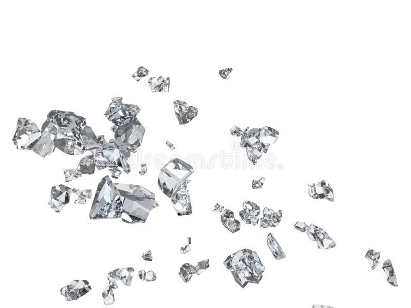 Cascos de cristal quebrados y vuelo de los pedazos en el aire ilustración del vector