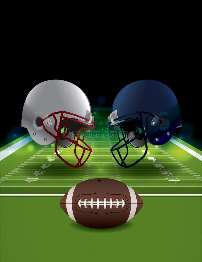 Cascos de fútbol americano americanos que coinciden en campo de fútbol libre illustration