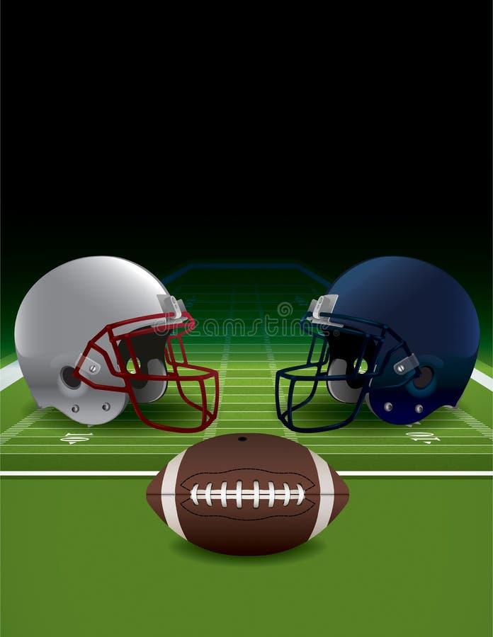 Cascos de fútbol americano, bola, y campo americanos del césped stock de ilustración
