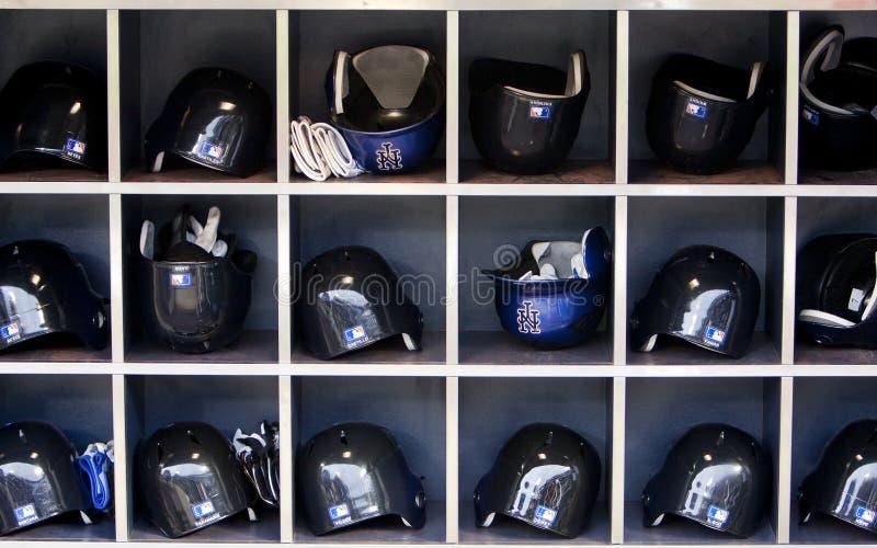 Cascos del basball de Mets fotografía de archivo