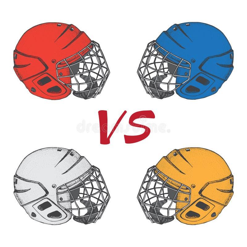 Cascos del hockey con la máscara Vista lateral Ejemplo del vector de los deportes aislado en el fondo blanco Deportes del hockey  ilustración del vector