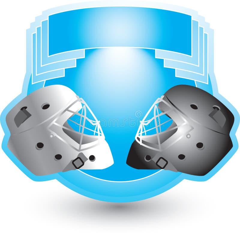 Cascos del hockey en cresta azul stock de ilustración