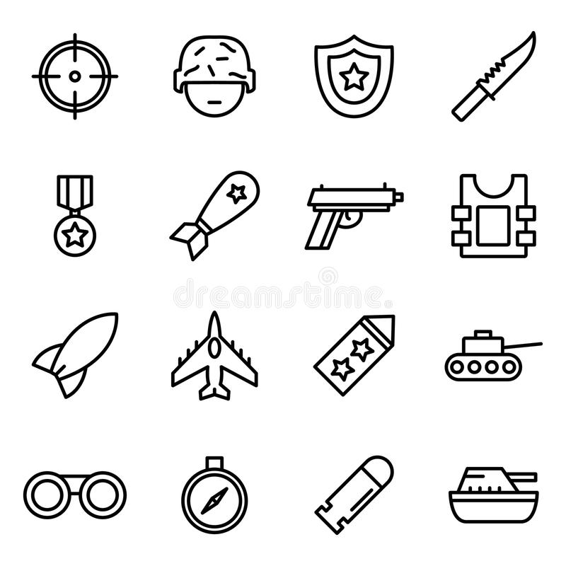 Cascos e iconos de las máscaras stock de ilustración