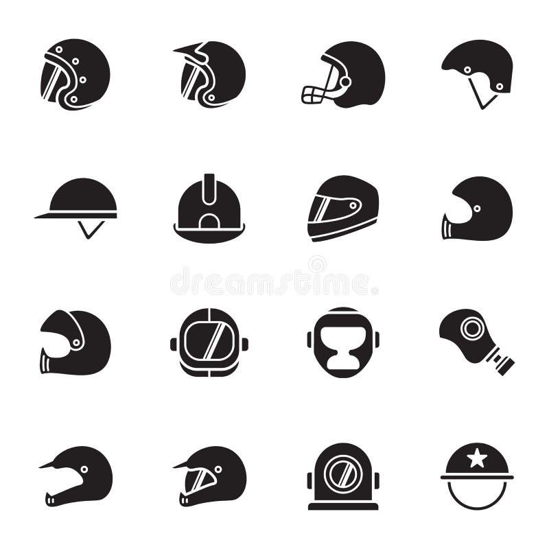 Cascos e iconos de las máscaras ilustración del vector