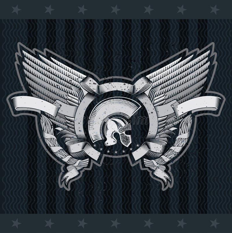 Cascos espartanos entre las alas y la guirnalda del laurel en el centro del bastidor redondo de la cinta Etiqueta heráldica del v stock de ilustración