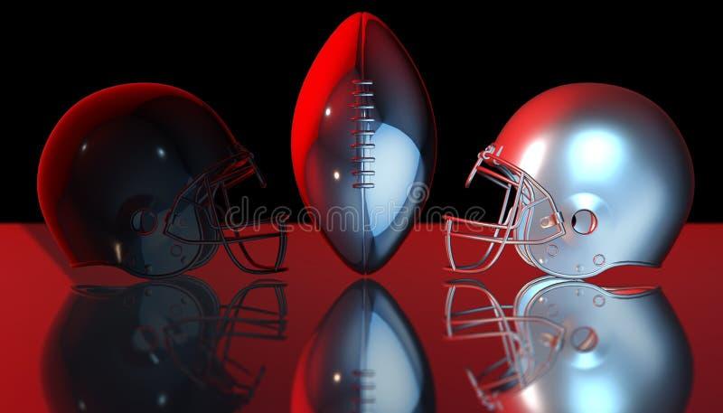 Cascos negros y de plata del fútbol americano en el fondo oscuro negro, representación 3d stock de ilustración