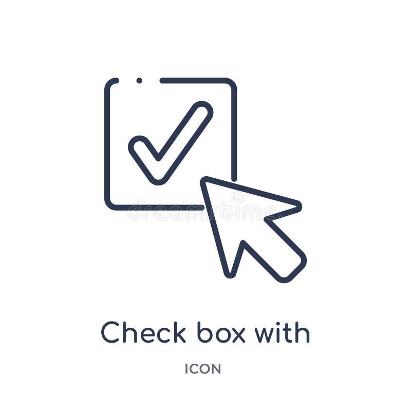 case à cocher avec l'icône de curseur de la collection d'ensemble d'interface utilisateurs Ligne mince case à cocher avec l'icône illustration libre de droits