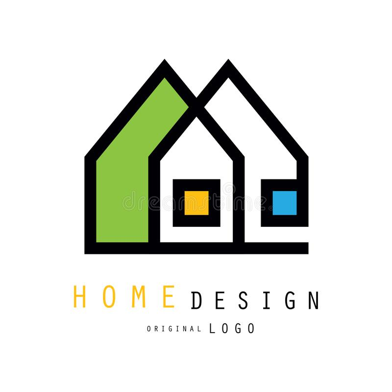 Case astratte per il logo della società di architettura o della costruzione Vector l'emblema per il deposito con gli elementi dom royalty illustrazione gratis