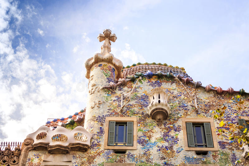 Case Batllo da Antoni Gaudi a Barcellona, Spagna fotografie stock libere da diritti
